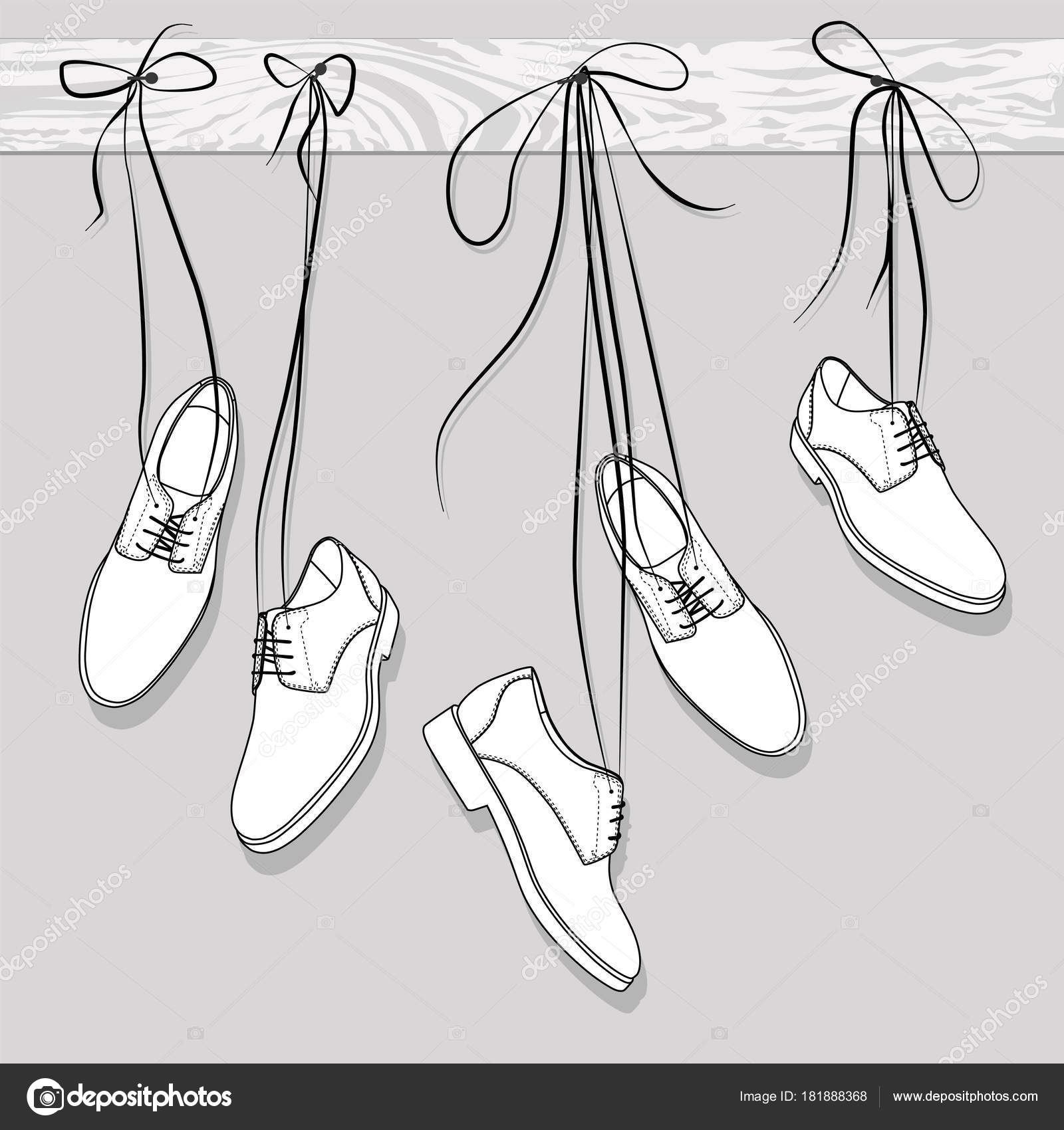 Shoes Hanging Laces Vector Illustration \u2014 Stock Vector