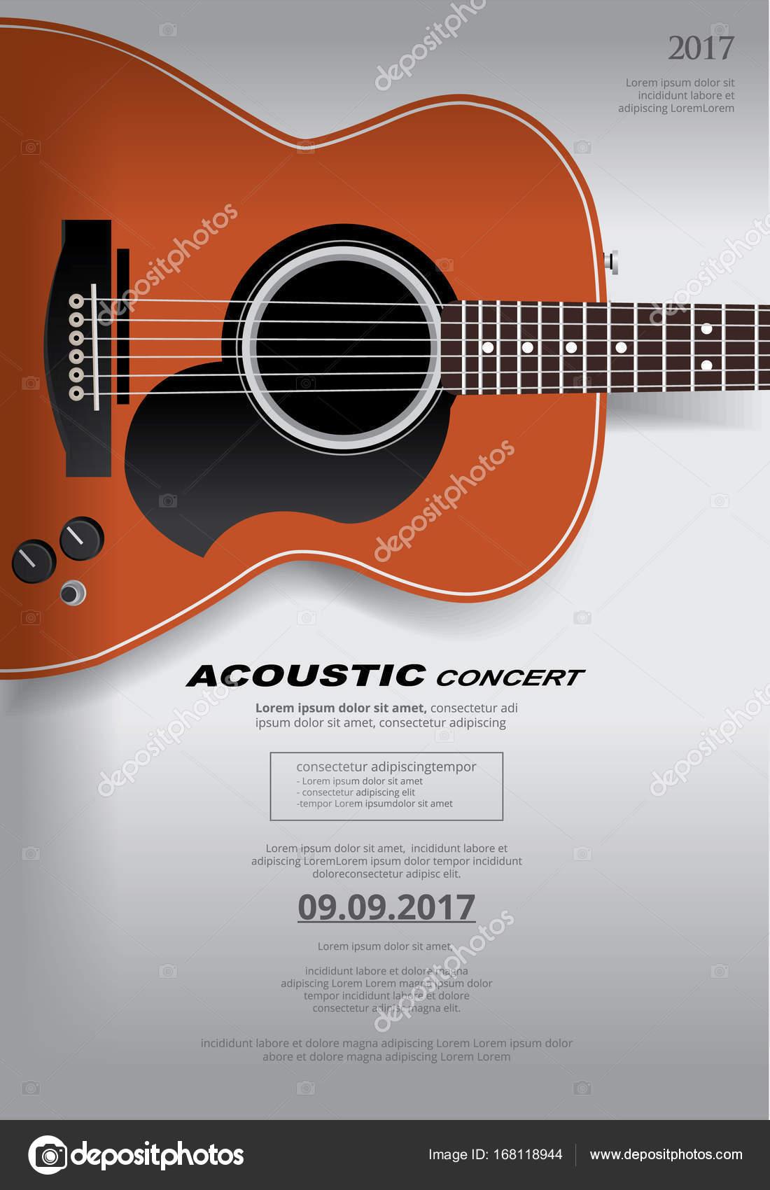 Guitarra acustica concierto cartel fondo plantilla — Archivo ...