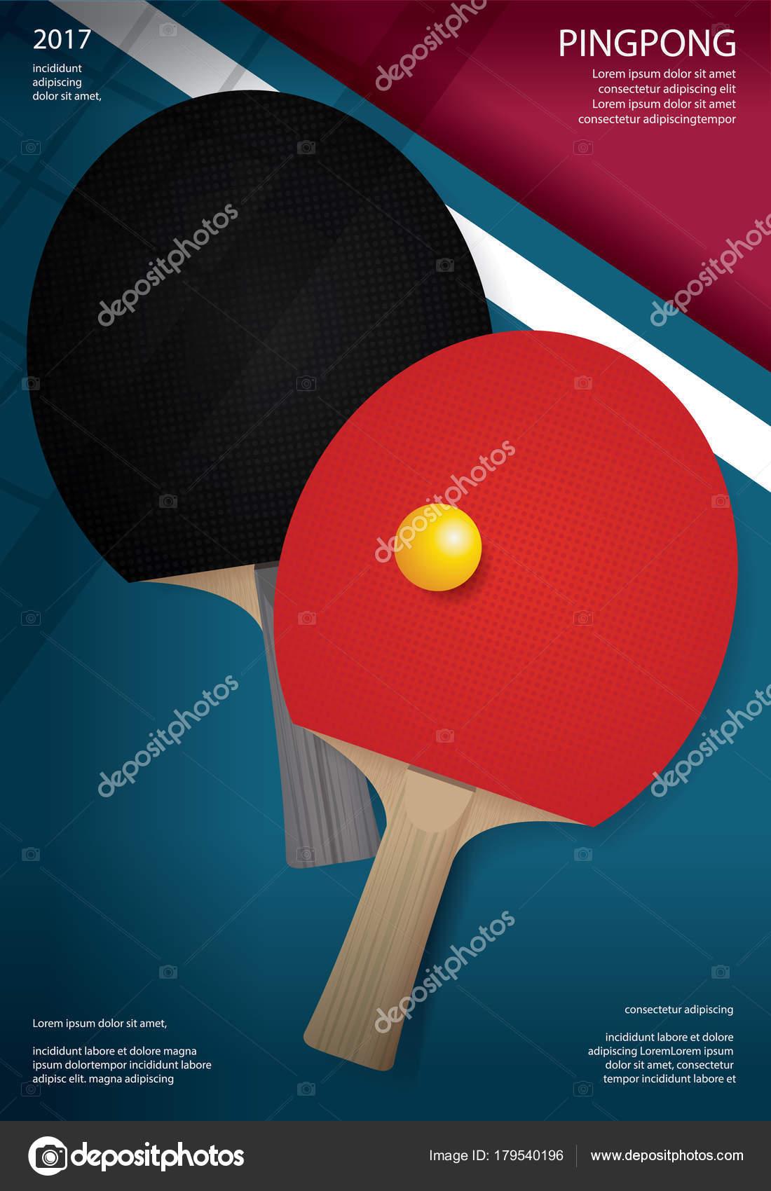 Ilustración Vector Plantilla Ping Pong Poster — Archivo Imágenes ...
