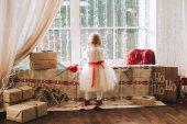 Fotografie little girl looking out window