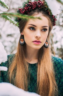 beautiful woman in wreath