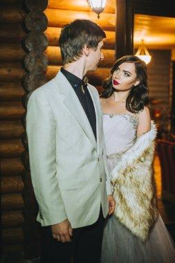 Wedding couple in evening
