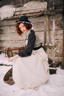 woman on winter scene