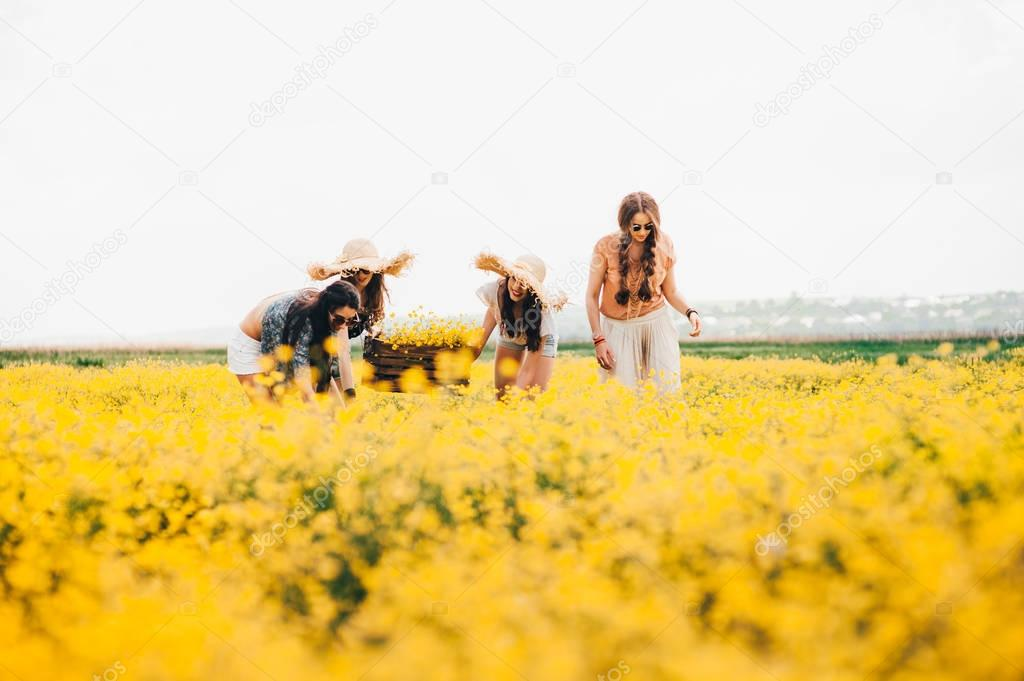 hippie girls in field