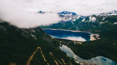 trolls tongue with a lake and mountains, Norway