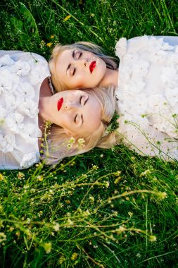 sisters twins lying on grass