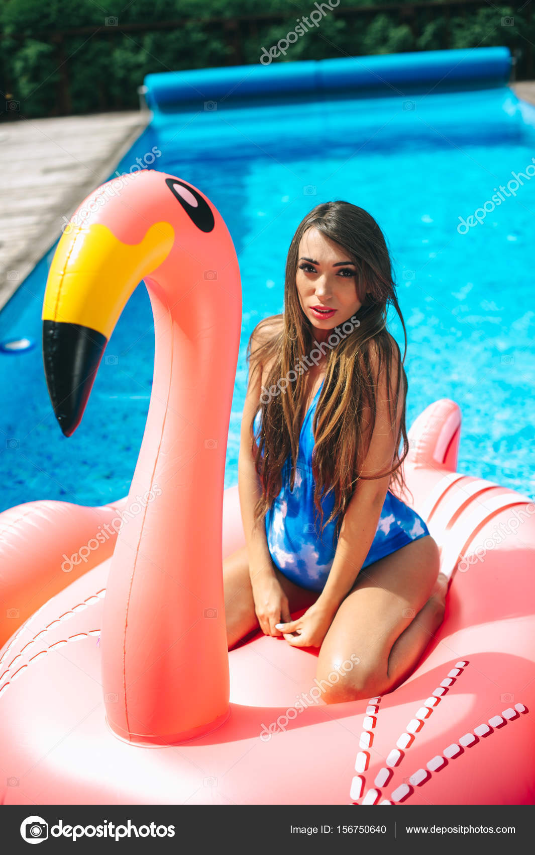 b113541b83ef2 Beautiful pregnant woman, wearing swimsuit, lying on a pink flamingo air mattress  in a pool of blue water — Photo by ...