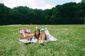Two beautiful girlson  picnic