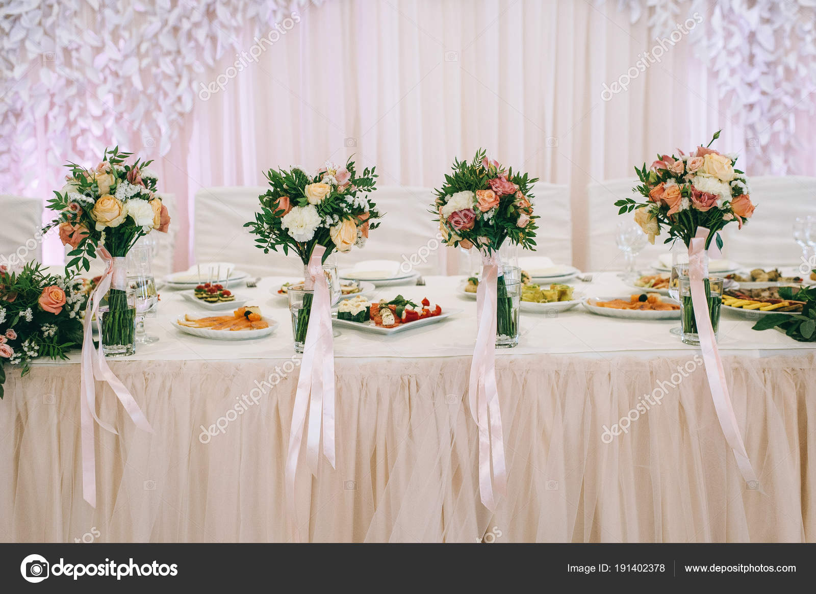 elegant table arrangement catering wedding reception stock photo