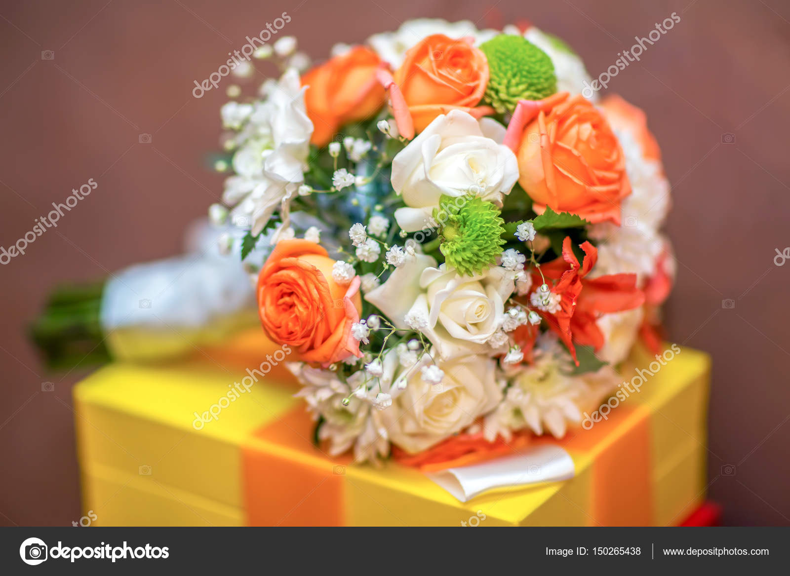 Wedding Bouquet Of Bride Colorful Flowers Orange And White Roses