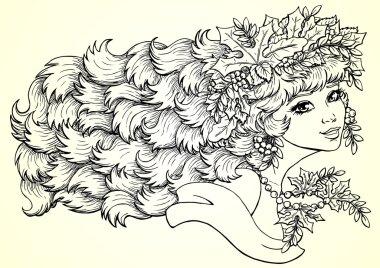 Seazon girl autumn contour horizontally