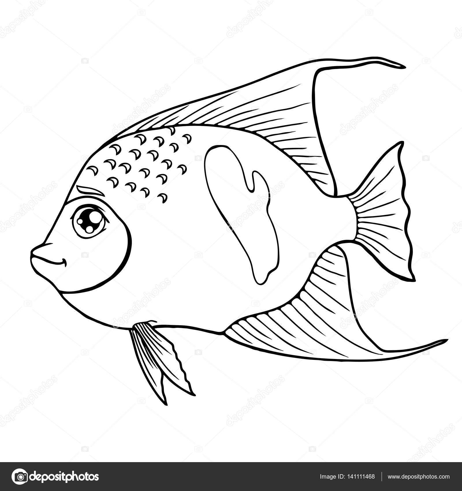 Contorno de peces angel árabe negro sobre blanco — Archivo Imágenes ...