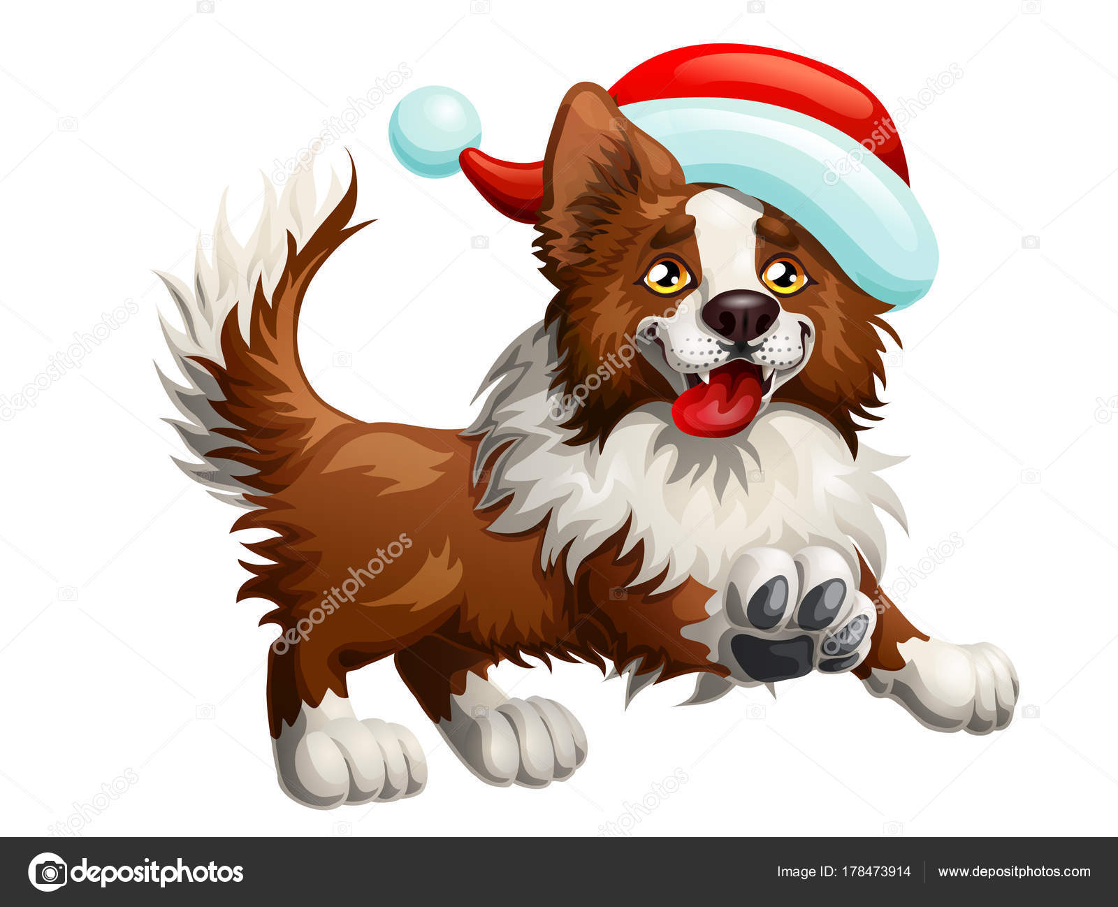 the cheerful brown puppy of a border collie and red cap a yellow dog a symbol 2018 new years according to the chinese calendar