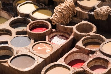 Dyeing houses of Chouar, Fes, Morocco, Africa, North Africa