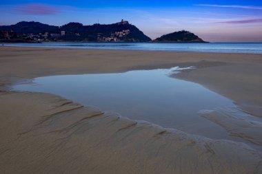 Water in the beach of the Concha, city of San Sebastian