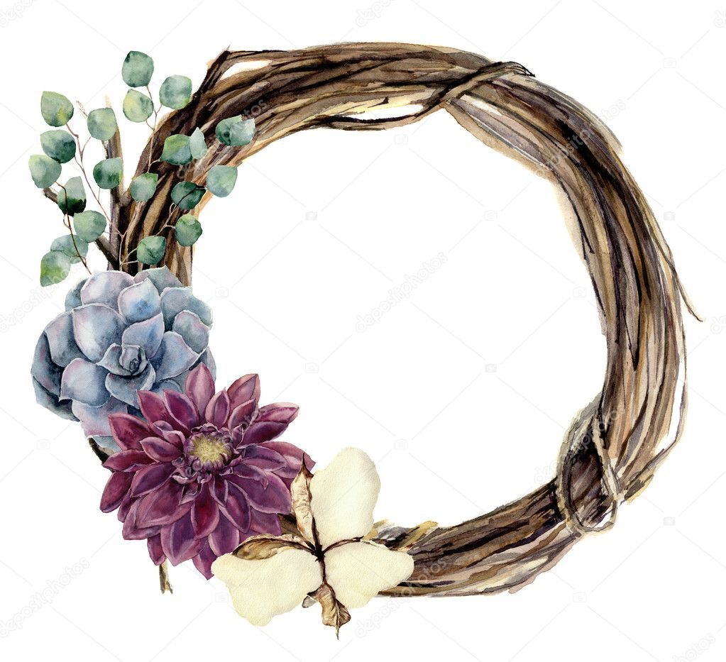 Watercolor floral wreath of twig. Hand painted wood wreath with silver dollar eucalyptus, dahlia, cotton flower and succulent. Floral illustration for design and background