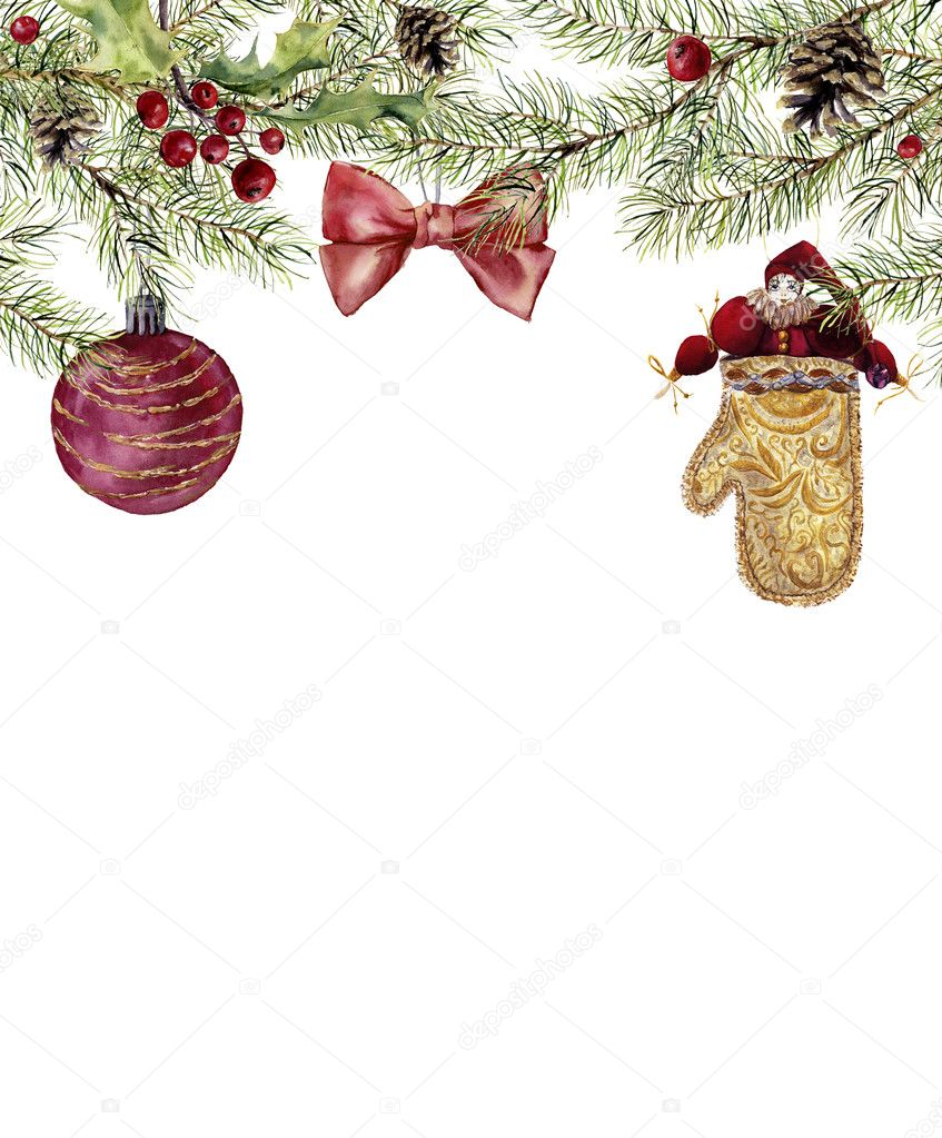 watercolor christmas invitation with toy fir branch with holly