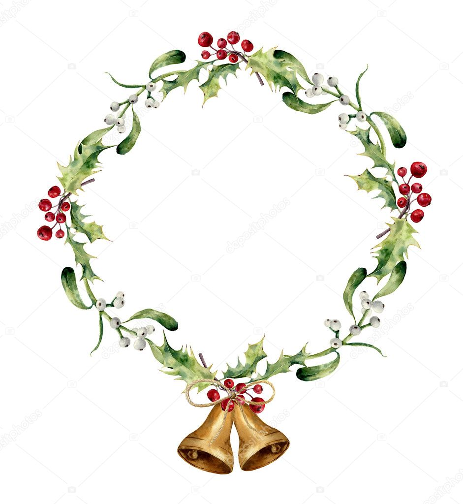 Watercolor Christmas Wreath With Bells Holly And Mistletoe Hand Painted Floral Border Isolated