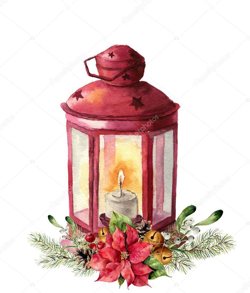Aquarelle lanterne rouge traditionnelle avec bougie et - Decoration de noel avec du houx ...