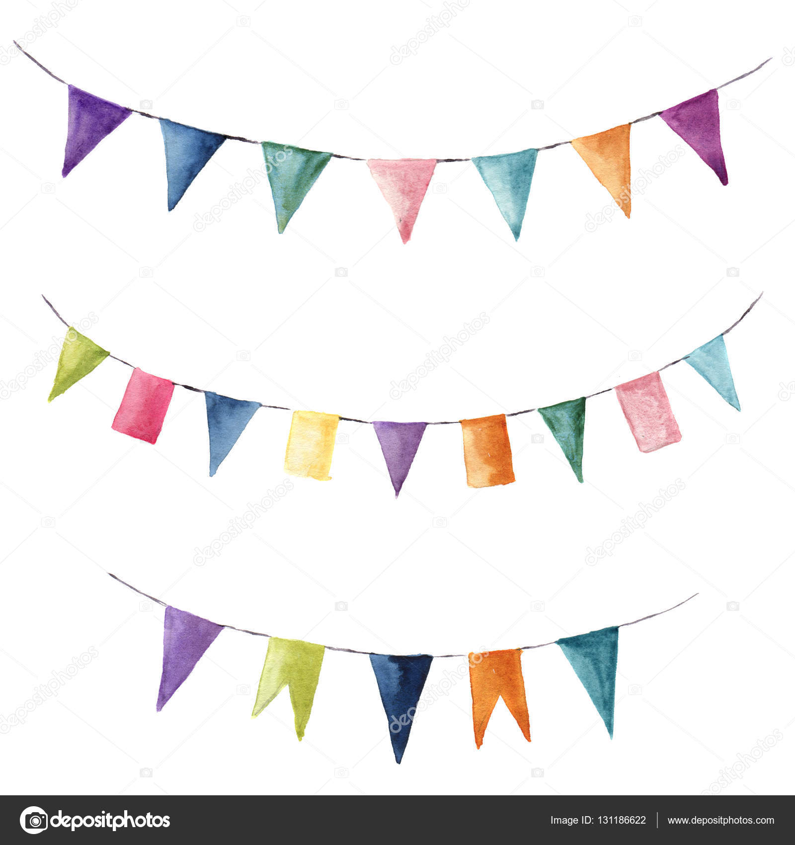 Watercolor bright color set with flags garlands. Party, kids party ...