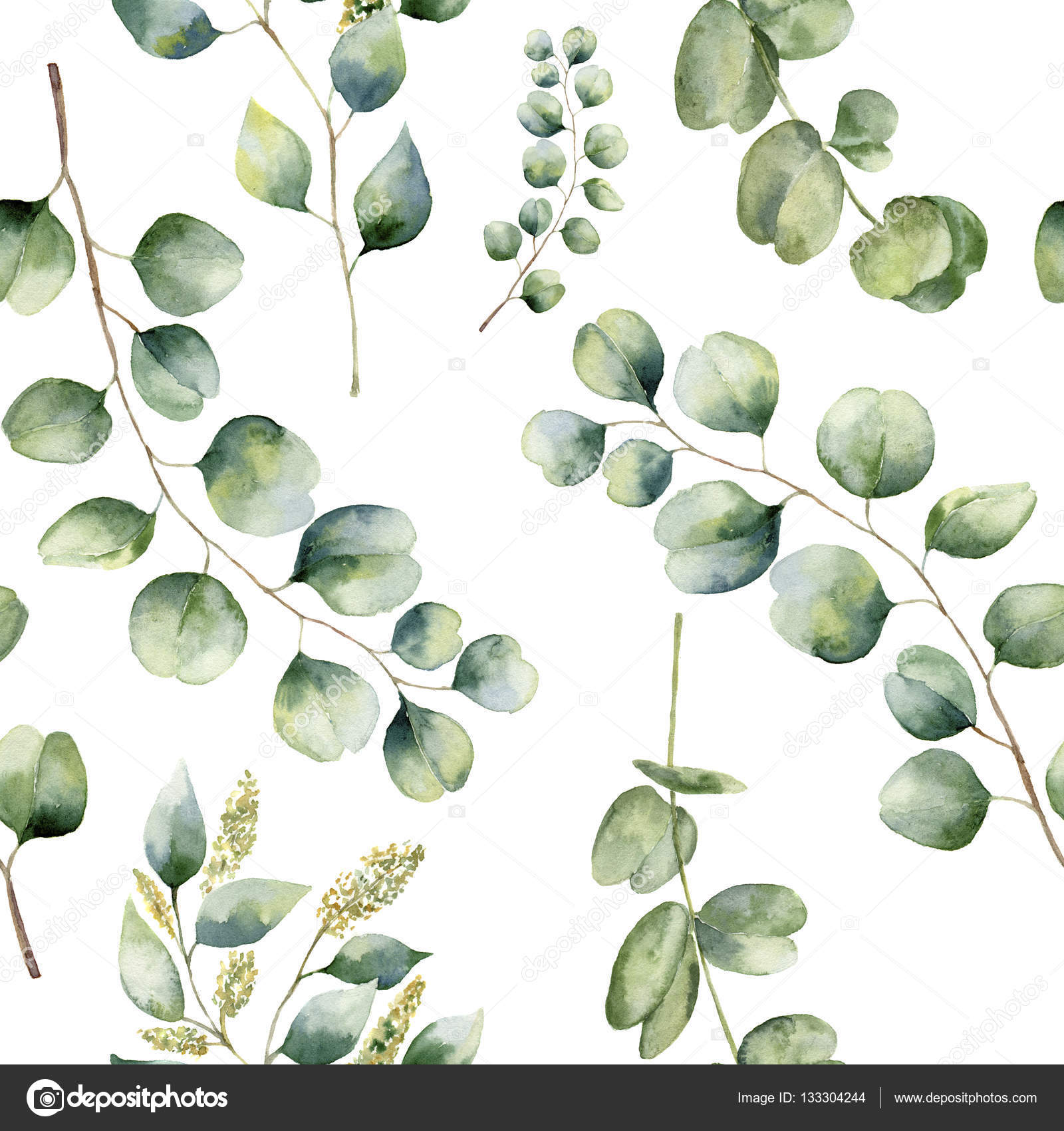 aquarell blumenmuster mit eukalyptus verl sst handgemalte. Black Bedroom Furniture Sets. Home Design Ideas