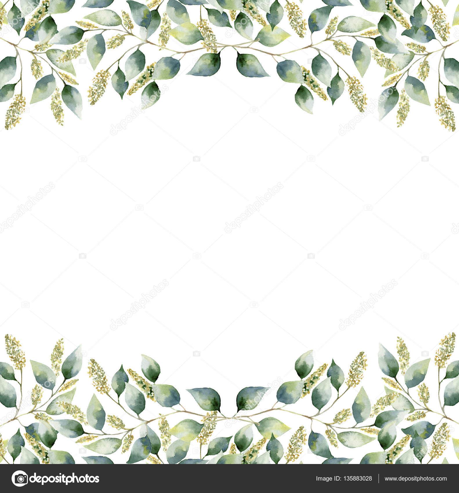 Green Tropical Plants Flower Round Border, Palm Leaf ... |Green Flower Border
