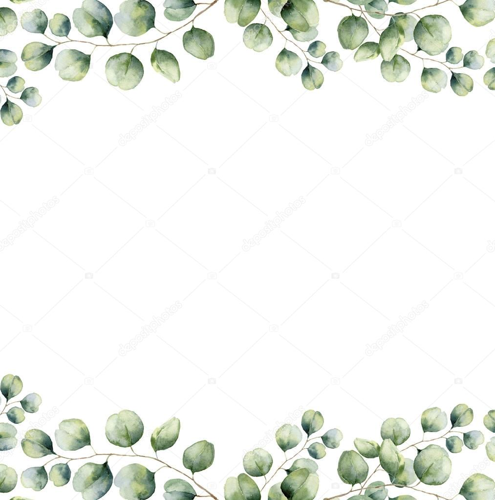 Watercolor green floral frame card with silver dollar eucalyptus leaves. Hand painted border with branches and leaves of eucalyptus isolated on white background. For design or background