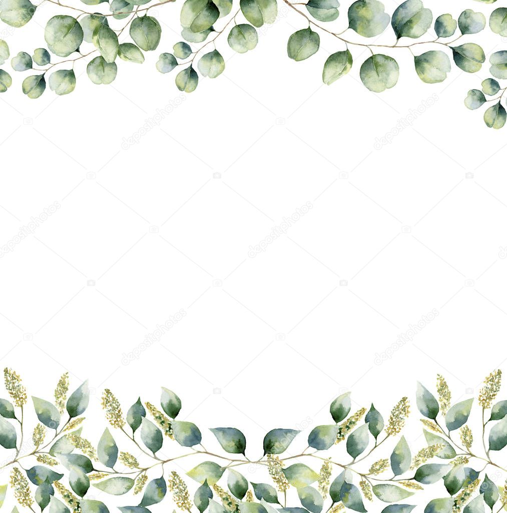 Watercolor floral frame card with silver dollar and seeded eucalyptus leaves. Hand painted border with branches and leaves of eucalyptus isolated on white background. For design or background