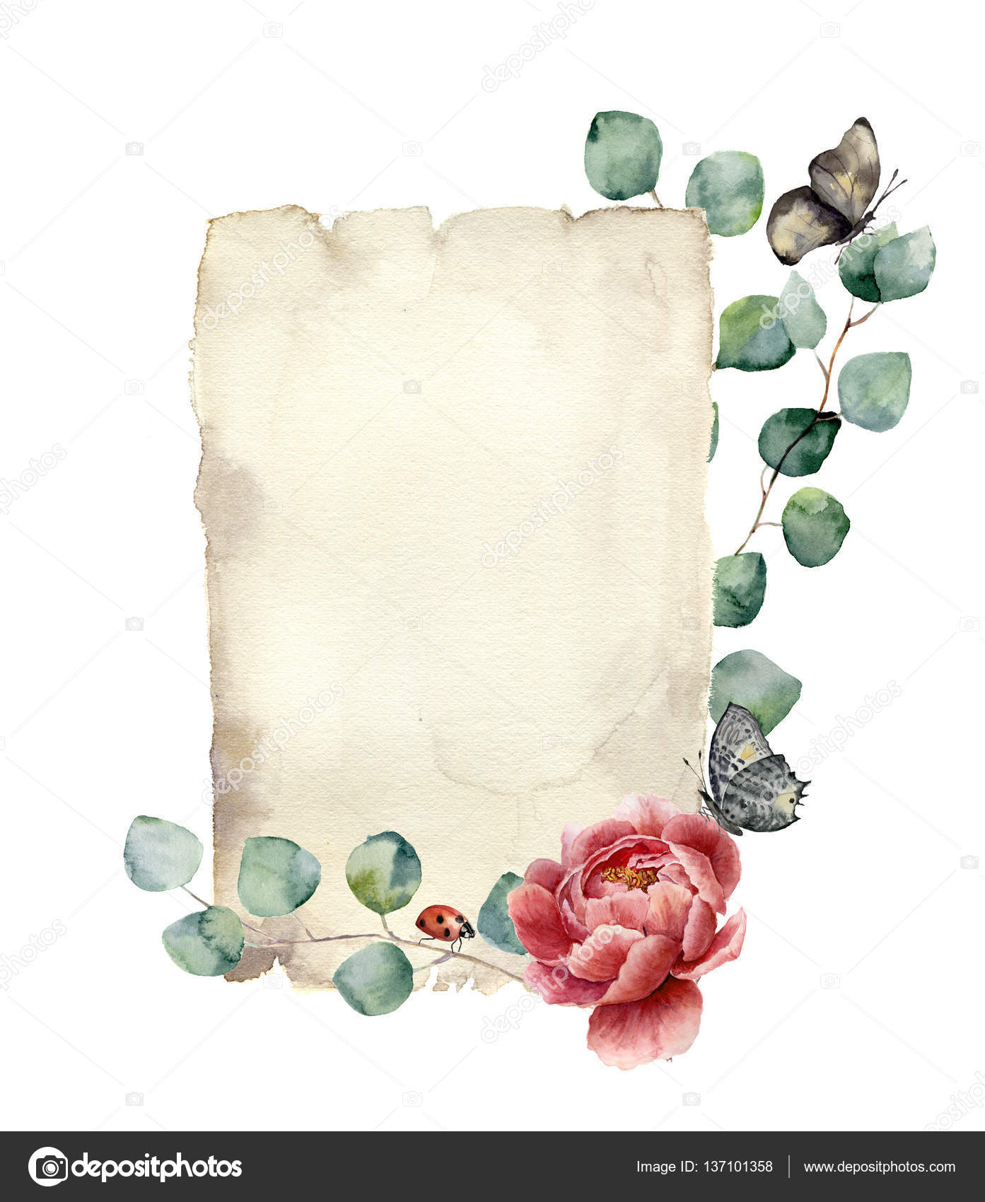 watercolor spring card with eucalyptus peony flower butterfly