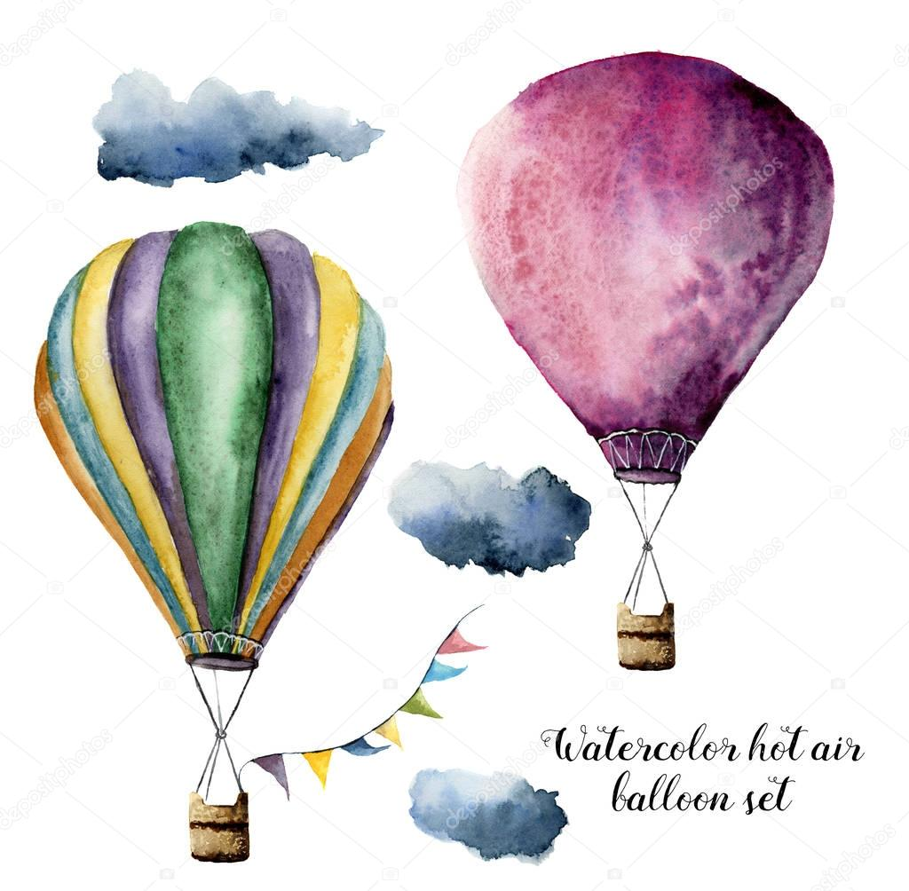 Watercolor hot air balloon set for design. Hand painted vintage air balloons with flags garlands and clouds. Illustrations isolated on white background