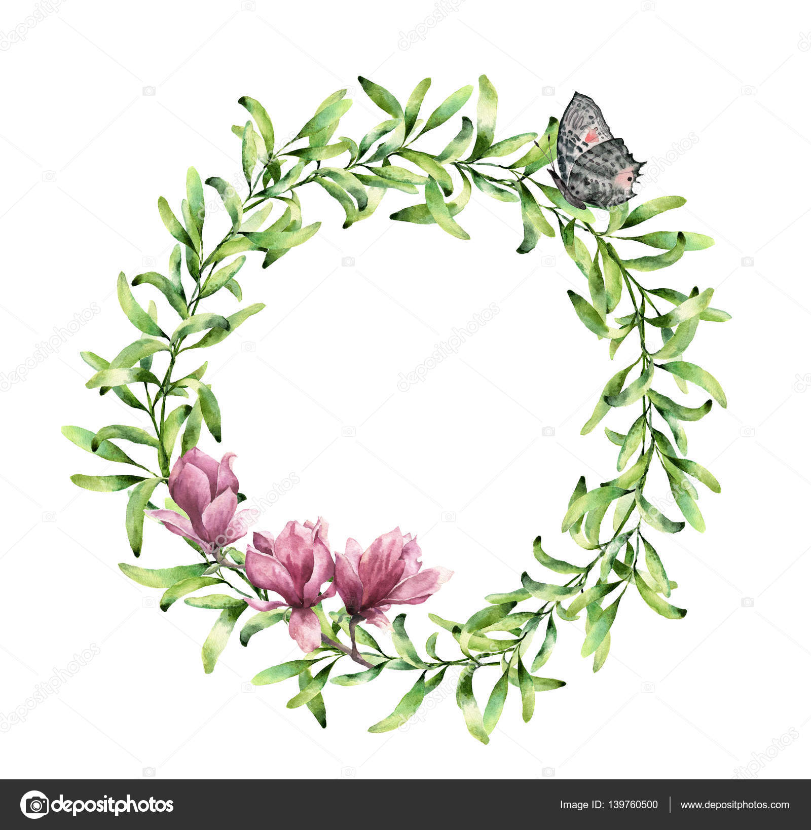 Watercolor Greenery Wreath With Magnolia And Butterfly Hand Painted Floral Border Isolated On