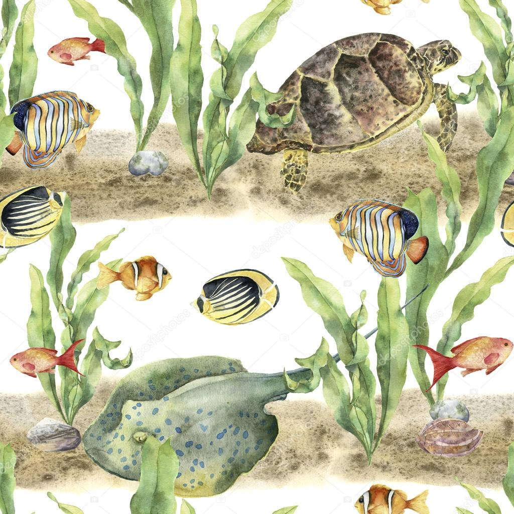 Watercolor tropic pattern with animals and fish. Hand painted tropic fish, seaweeds, stingray, pebbles, sea turtle, seashell isolated on white background. Underwater illustration for fabric or print.