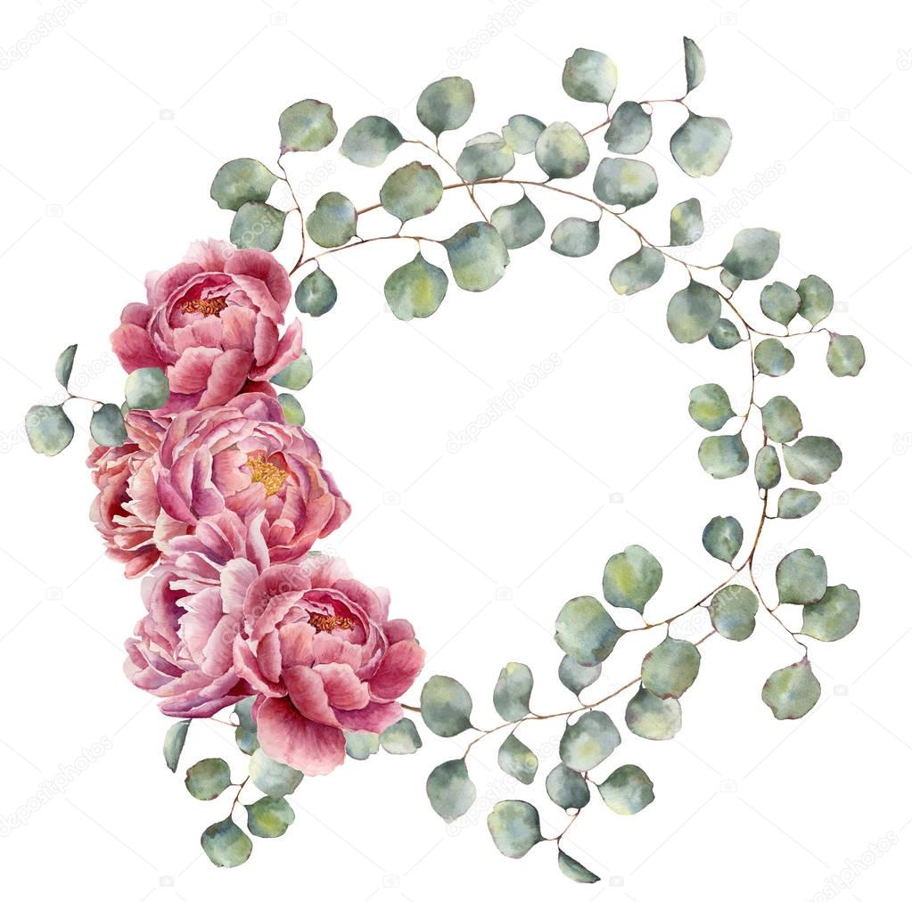 Watercolor wreath with silver dollar eucalyptus branch and peony. Hand painted floral illustration with round leaves and pink flowers isolated on white background. For design or print.