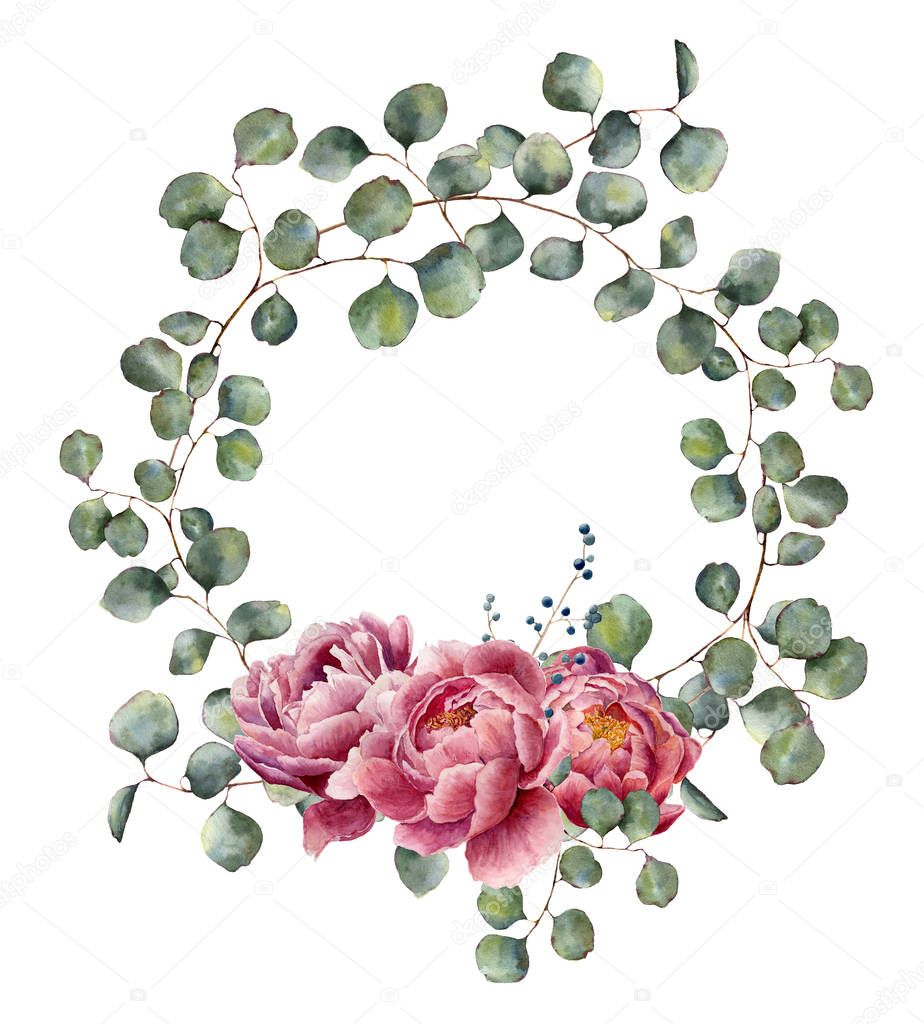 Watercolor wreath with eucalyptus branch and peony. Hand painted floral illustration with round leaves of silver dollar eucalyptus and pink flowers isolated on white background. For design or print.
