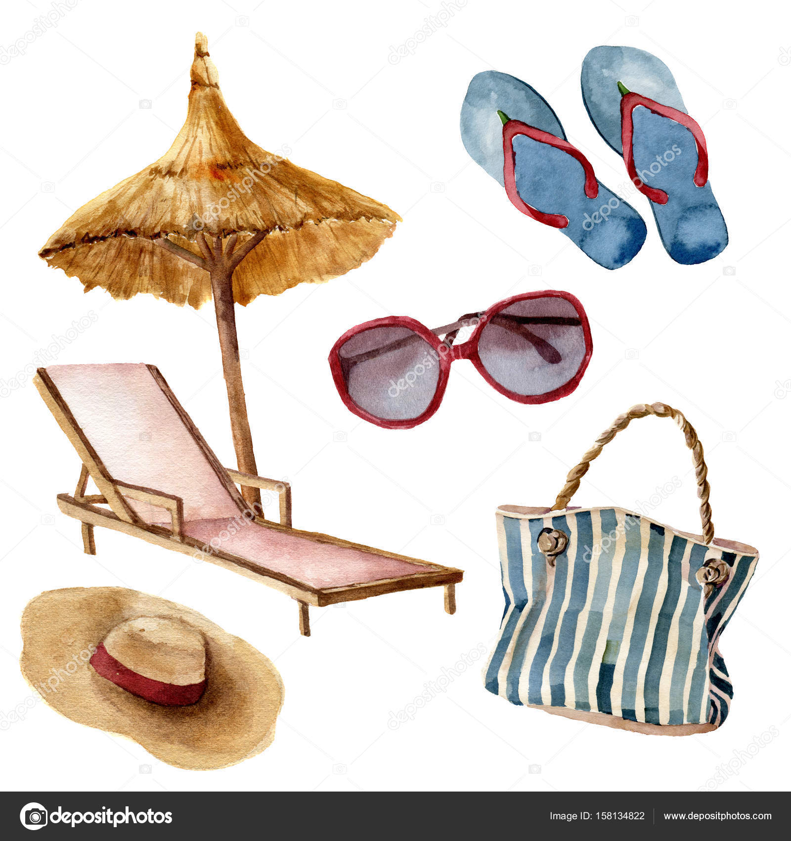 Beach chair with umbrella painting - Hand Painted Summer Vacation Objects Sunglasses Beach Umbrella Beach Chair Straw Hat Beach Bag And Flip Flops Tropical Illustration Isolated On White