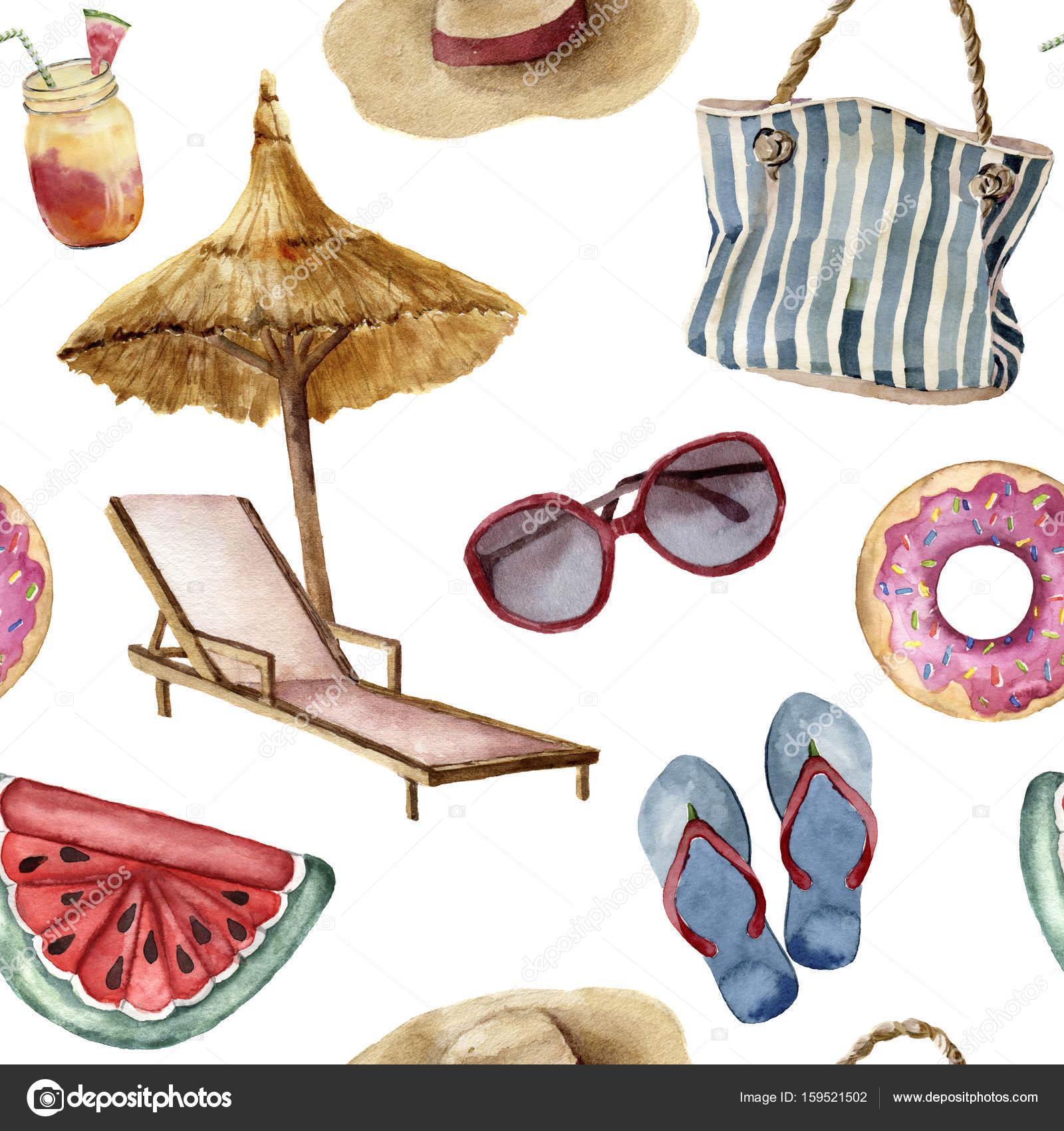 Patrón de playa verano acuarela. Mano pintado objetos de vacaciones ...