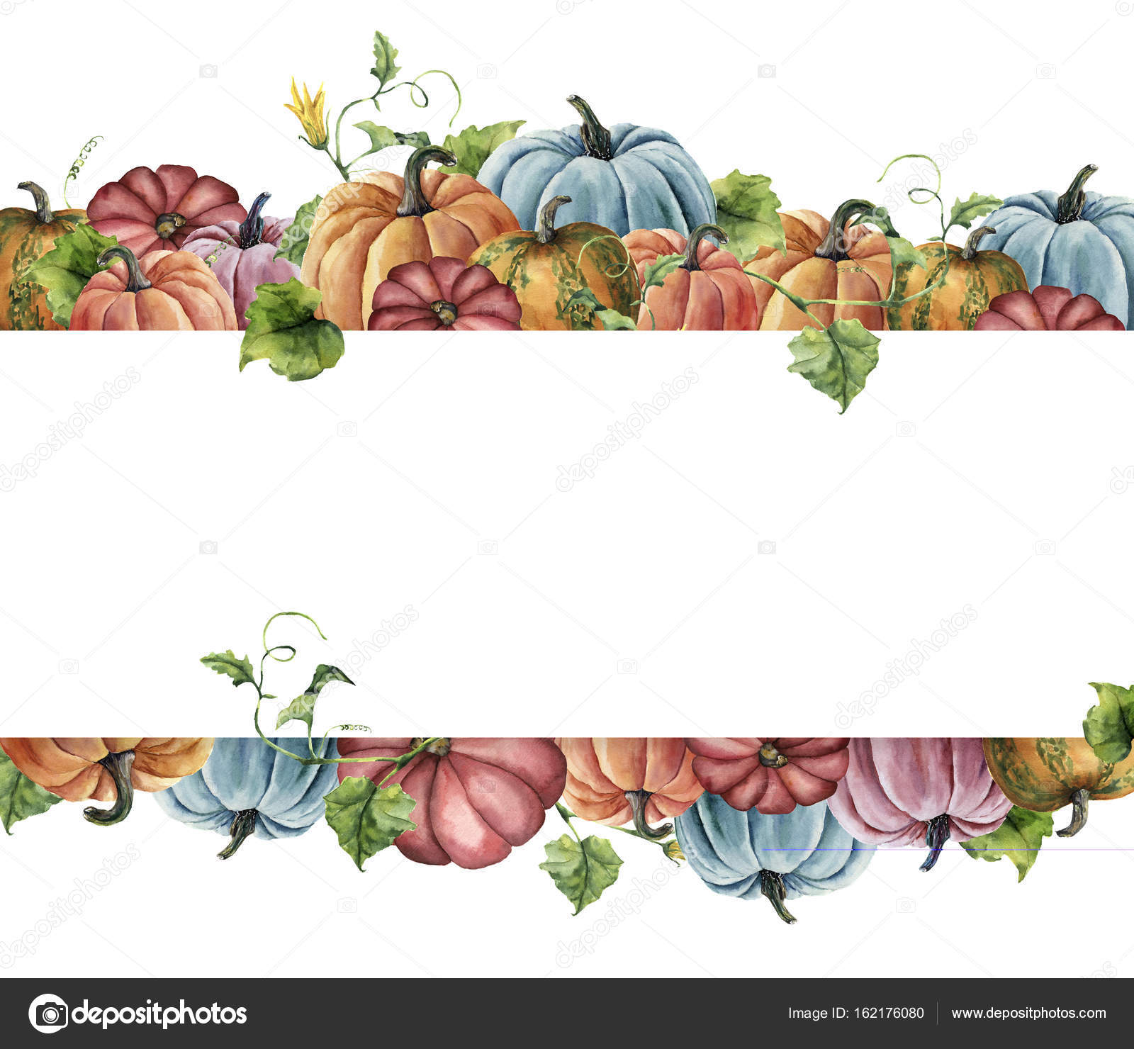 Watercolor Autumn Harvest Card Hand Painted Border With Bright Pumpkins Leaves And Flowers Isolated