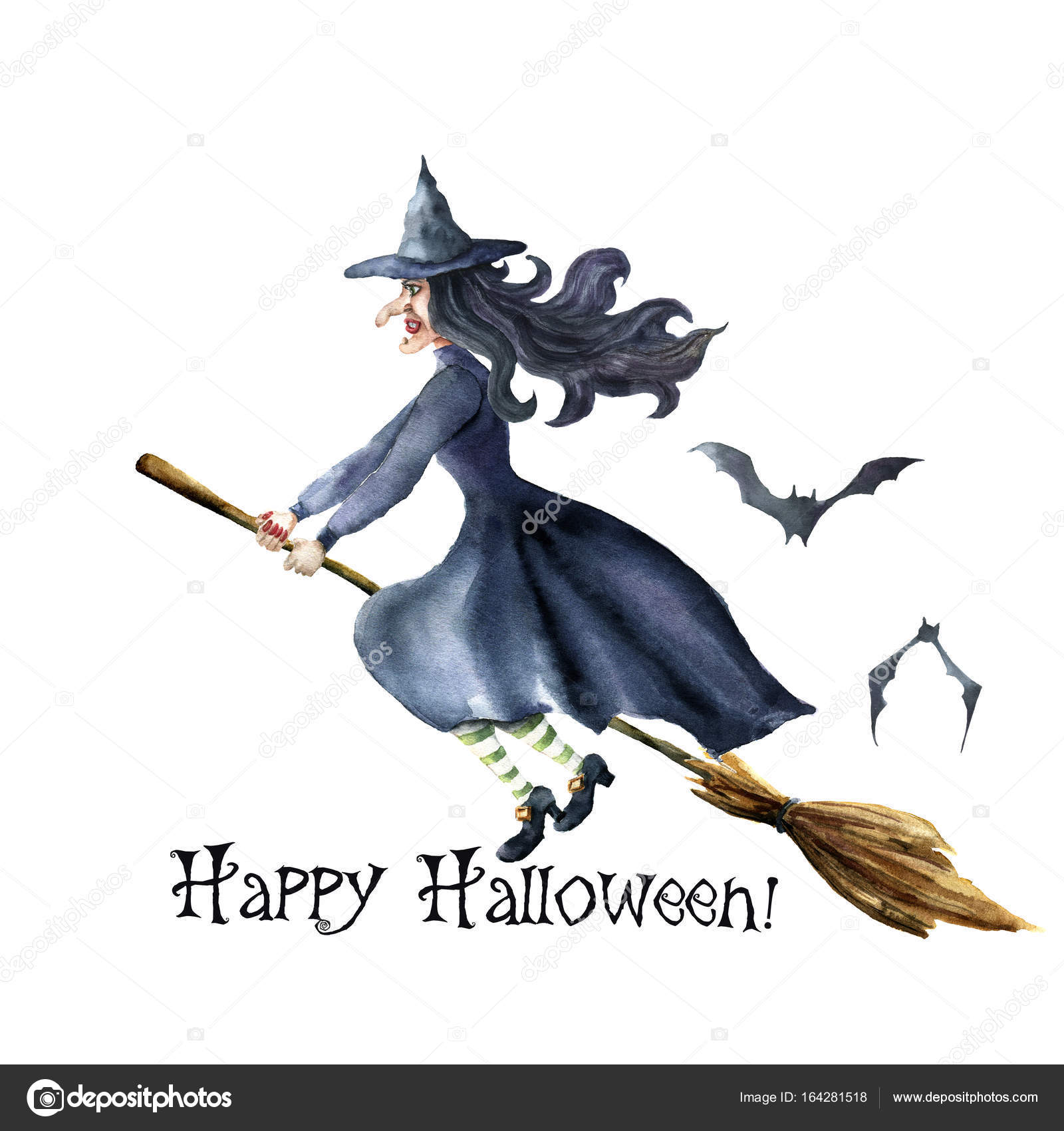 Watercolor Happy Halloween Card. Hand Painted Hand Painted Bats And Witch  Flying On Broomstick.