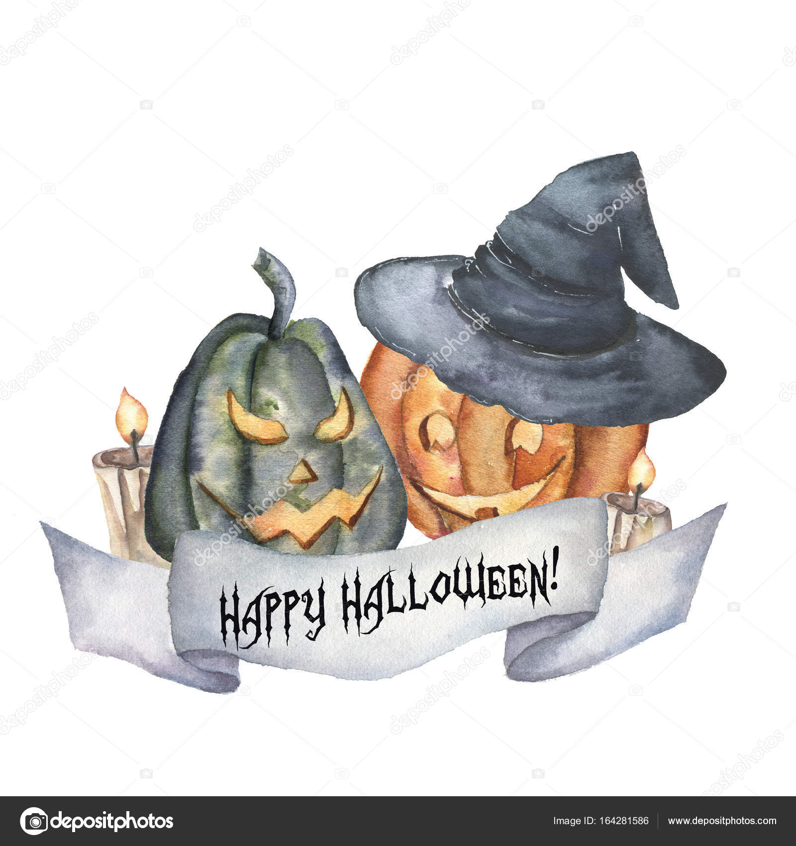 Watercolor Happy Halloween Card With Pumpkin. Hand Painted Carved Faces  Pumpkins With Candle And Witch