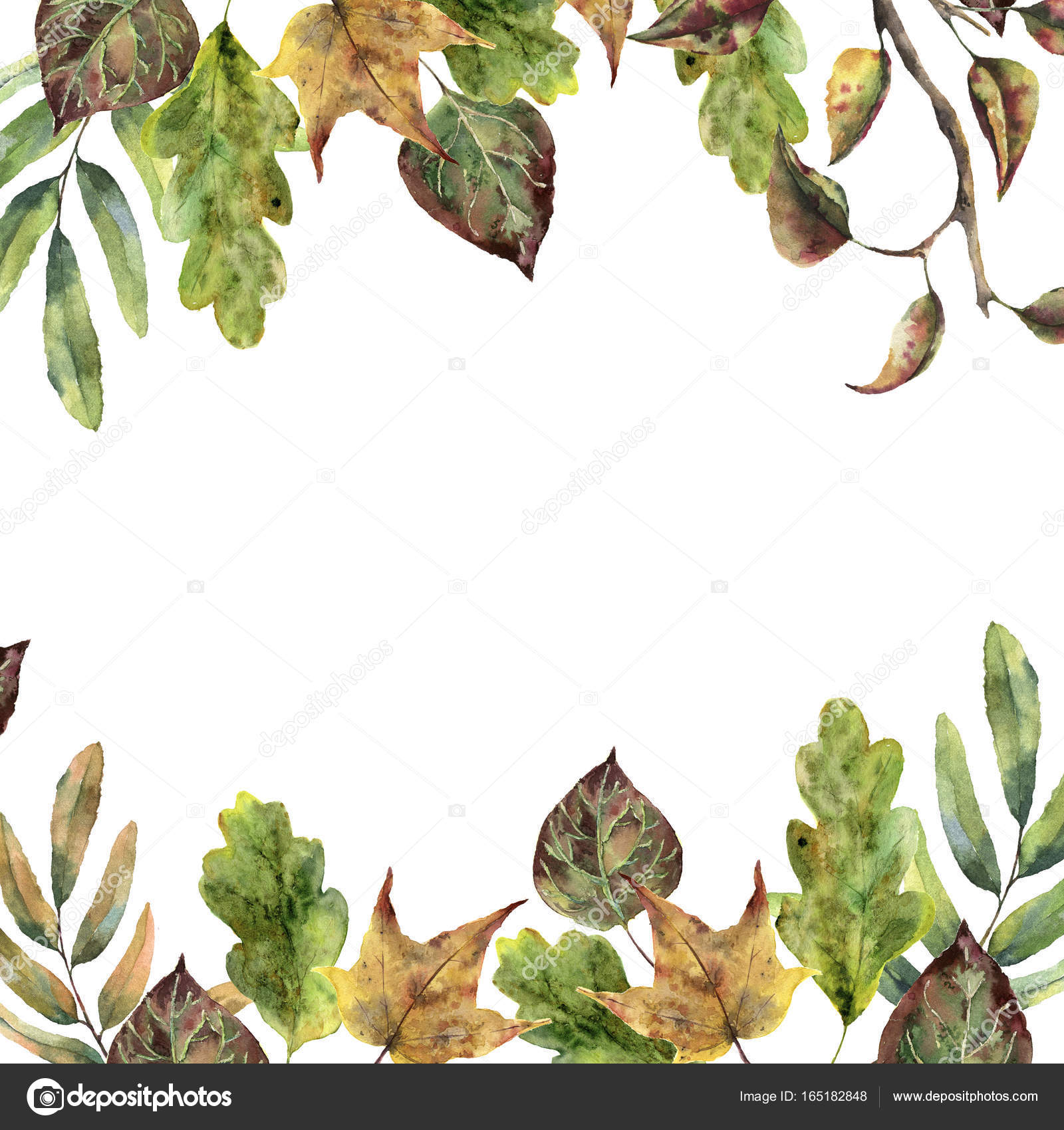 Watercolor Autumn Frame With Fall Leaves Hand Painted And Tree Branch Isolated On White Background Seasonal Border For Design Photo By Derbisheva