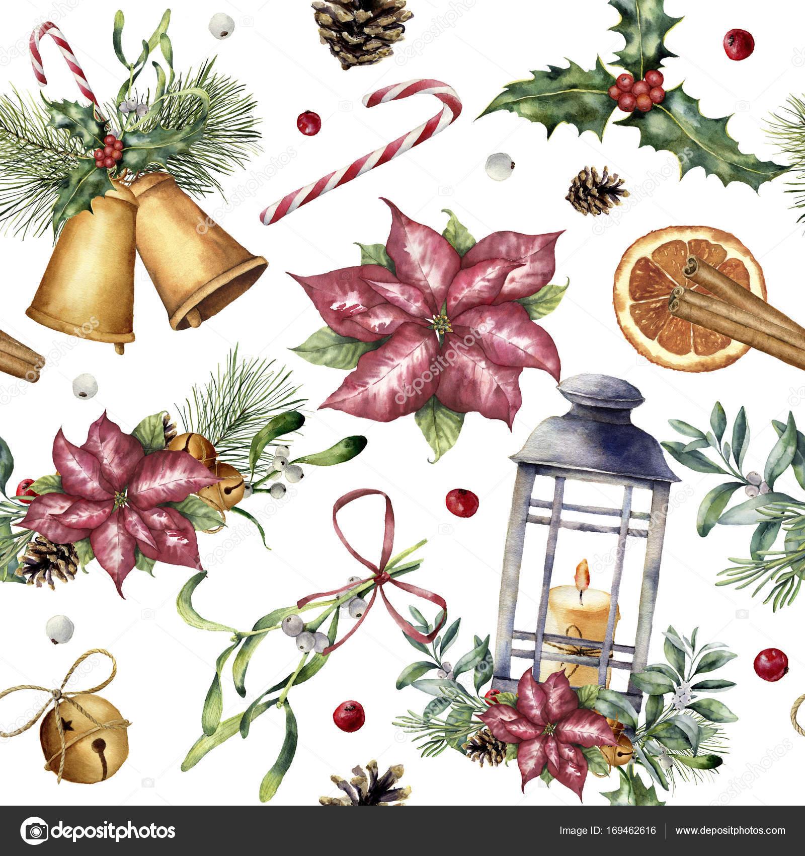 Acuarela patrón de Navidad con una decoración tradicional. Pintado a ...