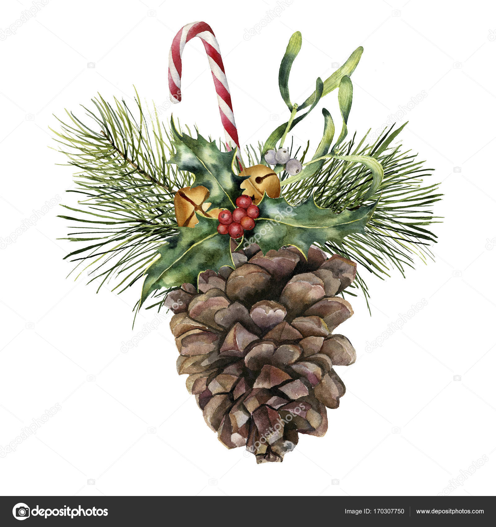 Watercolor pine cone with holiday decor Hand painted pine cone with