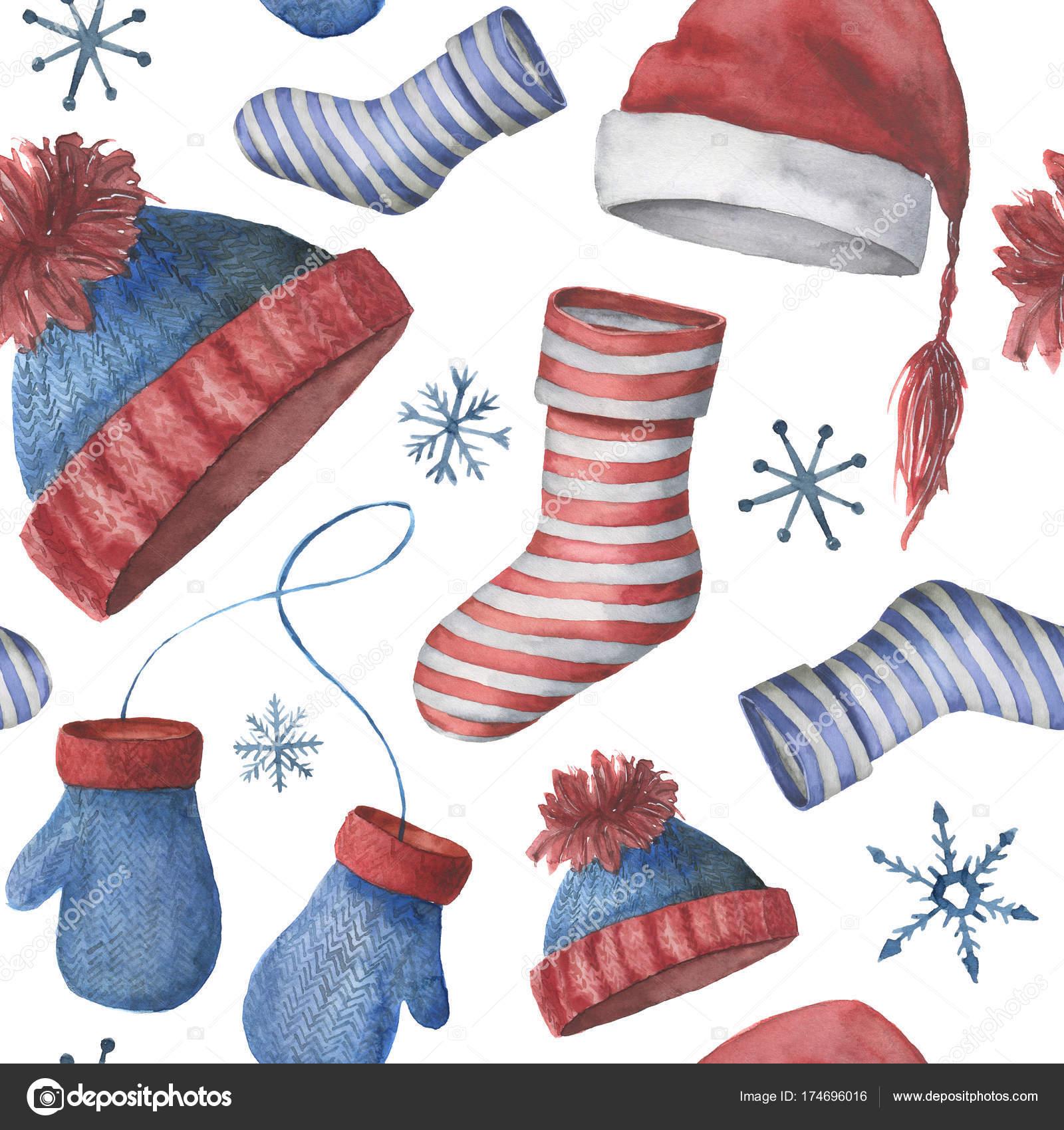 Patrón de invierno perfecta acuarela con sombreros, calcetines y ...