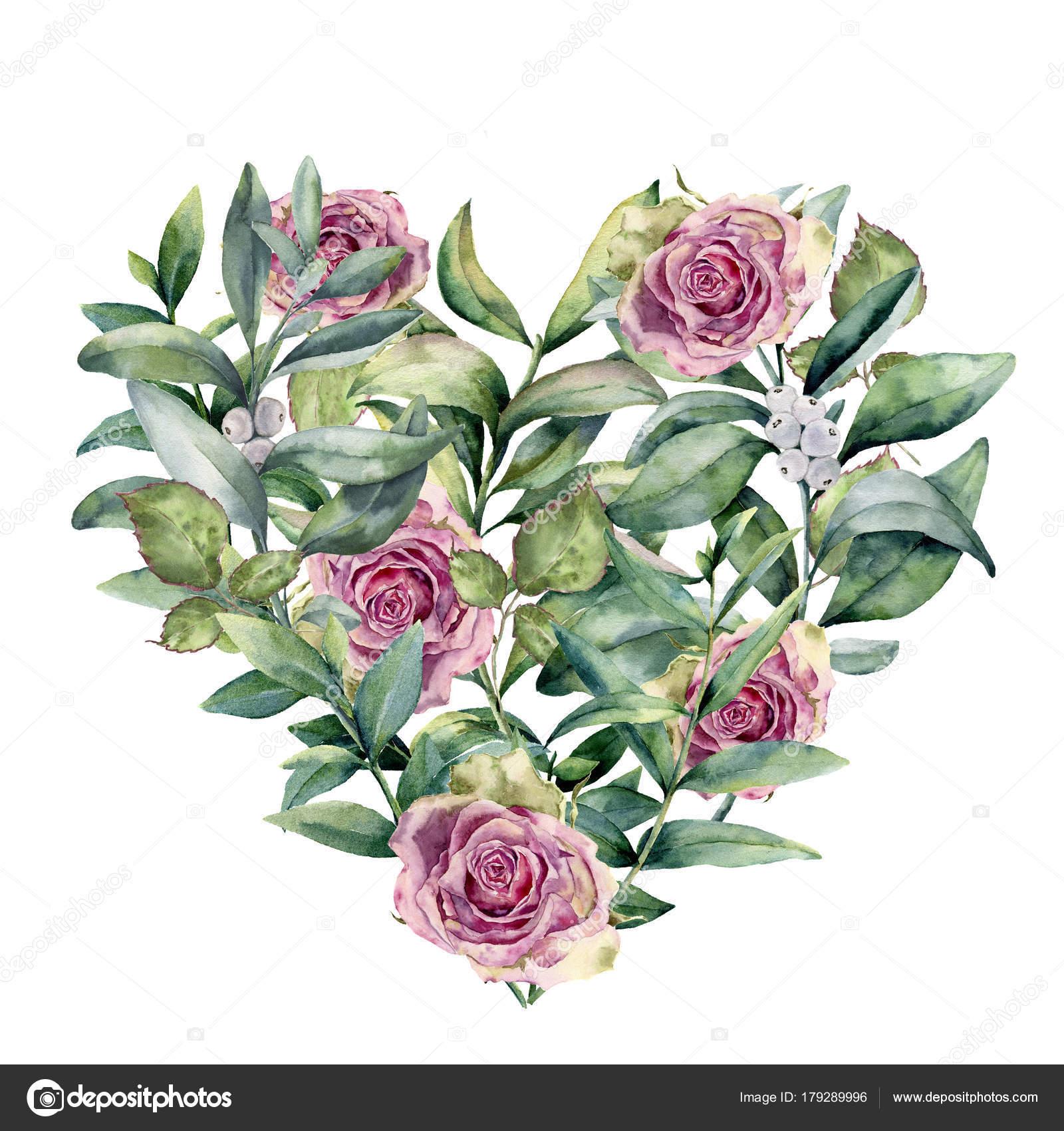 aquarell blumen herz mit rosen und eukalyptus handgemalte. Black Bedroom Furniture Sets. Home Design Ideas