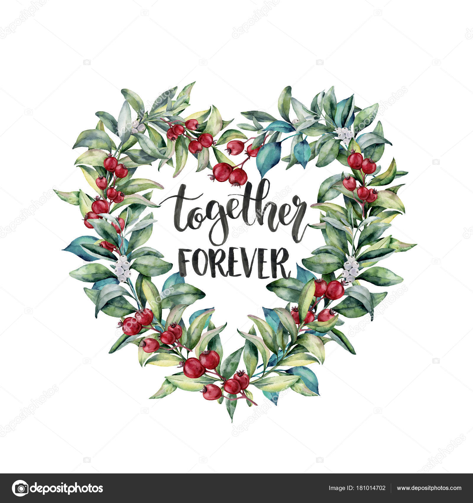 Akwarela Druku Valentines Day Z Serca Recznie Malowane Kwiatowy