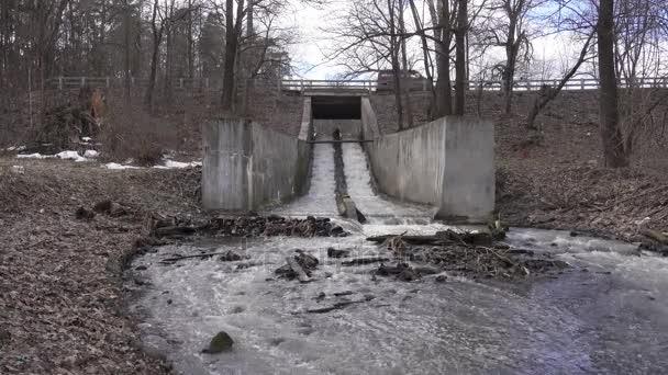 Potok vody v betonu, Jarní krajina video