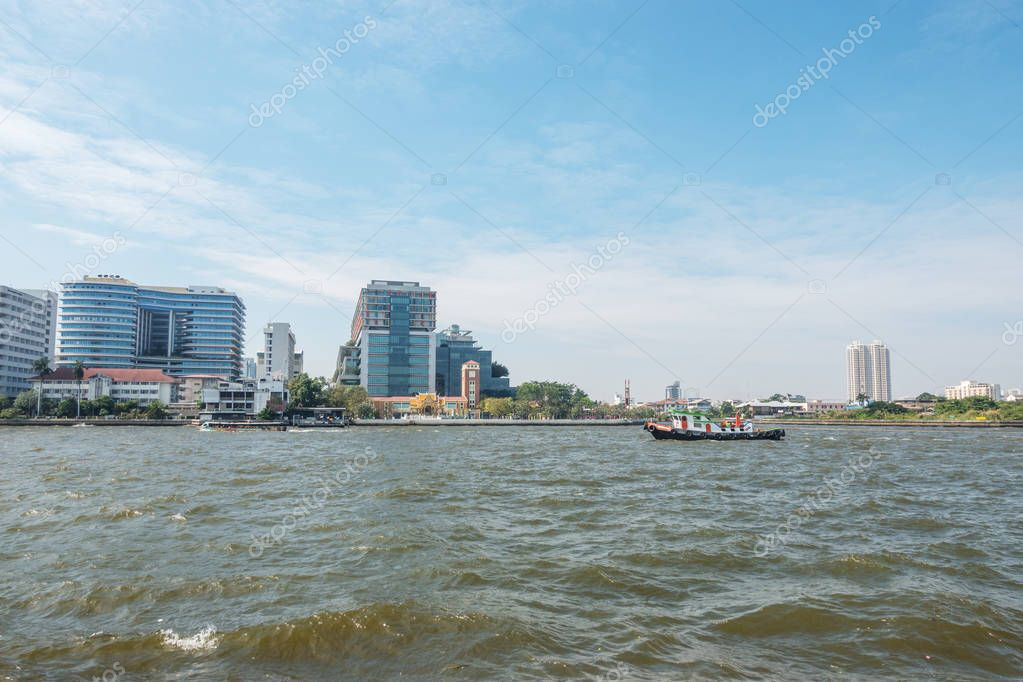 Tourists boats on Chao Phraya river