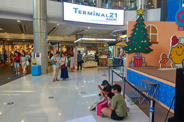 BANGKOK, THAILAND - December 24: Terminal 21 Shopping Mall. Terminal 21 is connected to Asoke BTS station