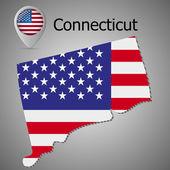 Fényképek Connecticut államban megjelenítése velünk jelző egérmutató megjelenítése és belső amerikai zászló