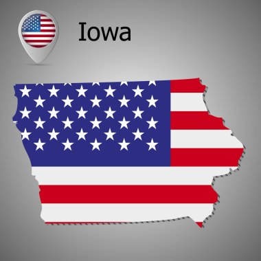 Map of the State of Iowa and American flag. Map pointer with American flag.
